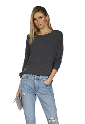 Michael Lauren James Long Sleeve Raglan Pullover Top in Black
