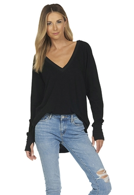 Michael Lauren Dooley Long Sleeve High Low Top in Black