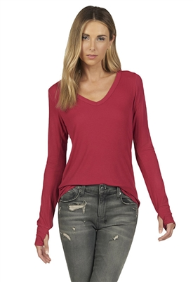 Michael Lauren Otis Long Sleeve Fitted Tee Shirt with Thumbholes