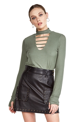 Michael Lauren Lam V Cutout Neckline in Palm