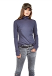 Michael Lauren Hamden Long Sleeve Turtleneck in Mysterious