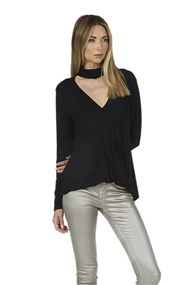 Michael Lauren Whitman Mock Neckline Surplus Top in Black