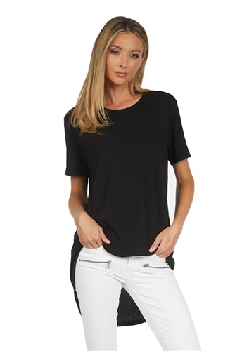 Michael Lauren Bowers High Low Tee Shirt in Black