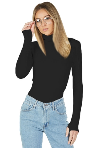 Michael Lauren Alamo Long Sleeve Turtleneck with Thumbholes in Black