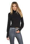 Michael Lauren Loki Crop Turtleneck Sweater in Black