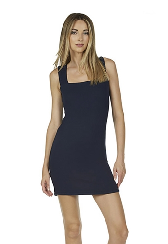 Michael Lauren Mumford Wide Strap Tank Mini Dress in Navy