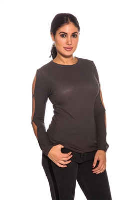 Michael Lauren Long Sleeve Top with Slits in Graphite