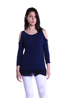 Three Dots Chiffon Trimmed Cold Shoulder Top in Iris