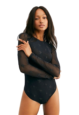 Free People Make Out Mesh Bodysuit in Black