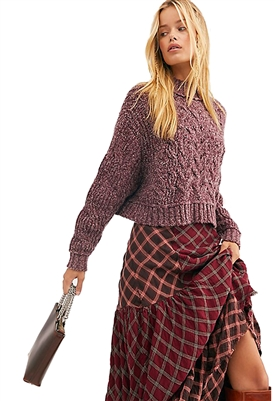 Free People Merry Go Round Crop Sweater in Very Berry