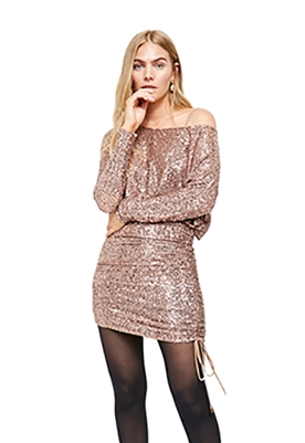Free People Giselle Sequin Mini Dress in Rose Gold