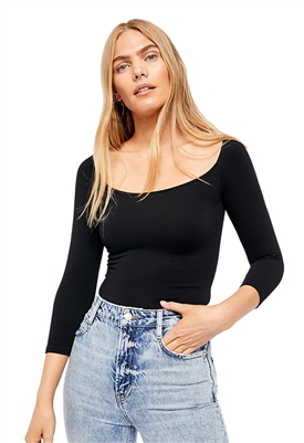 Free People Square Neck 3/4 Sleeve Top in Black
