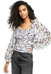 Free People Mabel Printed Blouse in Lilac Combo