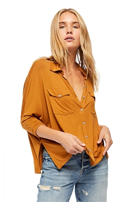 We The Free Andy Button-Down Tee in Honey