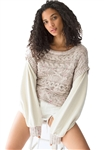 Free People Honey Cable Pullover Sweater in White Combo