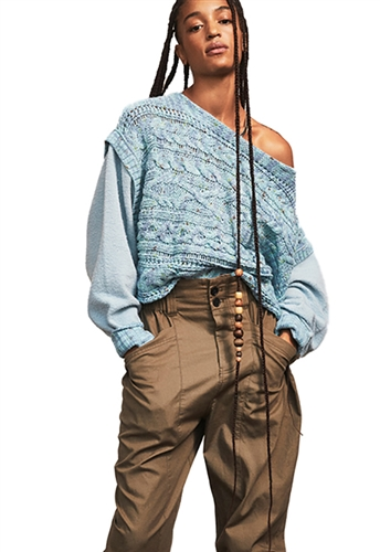 Free People Honey Cable Pullover Sweater in Siren Blue Combo