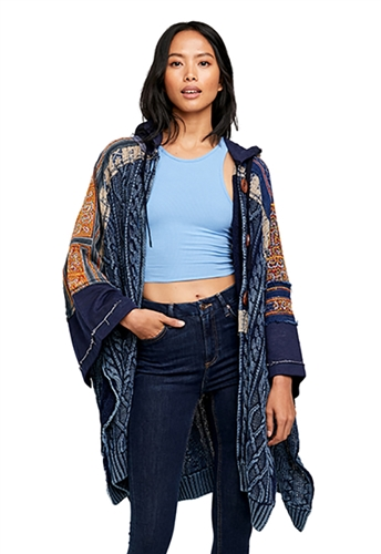Free People Sammy Cable Poncho Indigo Combo