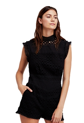 Free People Victoria Lace Romper in Black
