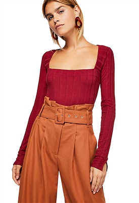 Free People Beside Me Long Sleeve Bodysuit in Wine
