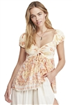 Free People La Bamba Babydoll Top in Tea Combo