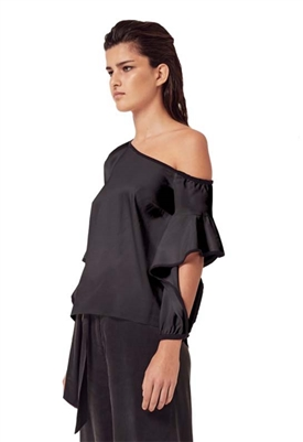 Once Was Ashton Waterfall Sleeve One-Shoulder Top in Black