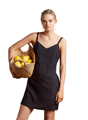 Once Was Cecile Slip Dress in Black