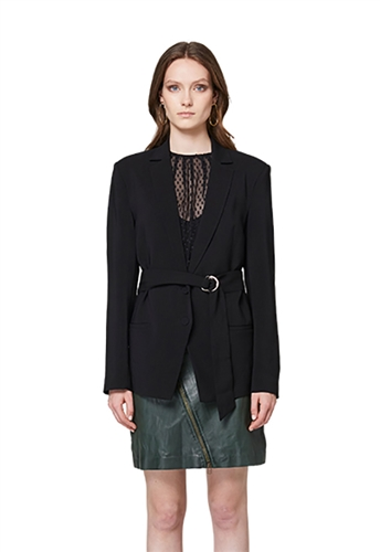 Once Was Mayfair Stretch Crepe Blazer with D Ring Waist Tie in Black