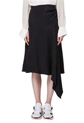 Once Was Berkeley Drape Midi Skirt in Black