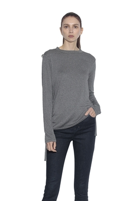 Susana Monaco Christa Roll Tab Long Sleeve Top in Graphite