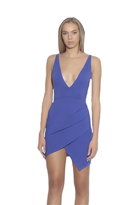 Susana Monaco Plunge Neckline Side Pleat Dress in Hyacinth