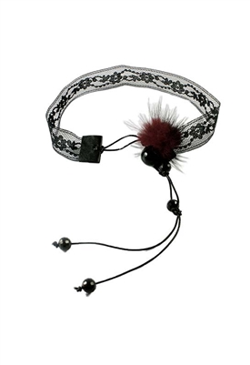Sibilla G Lace Choker with Fur Mini Pom Pom