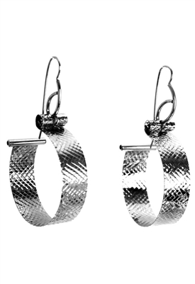 Sibilla G Maxi Diamond Hoop Earrings Stainless Steel