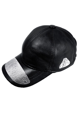 Sibilla G Black Leather Baseball Cap