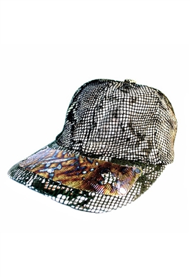 Sibilla G Snake Skin Leather Baseball Cap in Gold