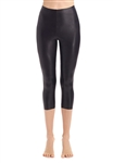 Commando Faux Leather Capri Legging in Black