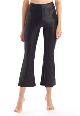 Commando Faux Leather Crop Flare Leggings in Black