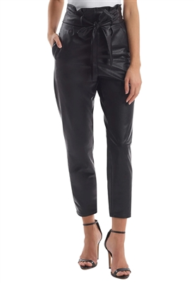 Commando Faux Leather Paperbag Pant in Black