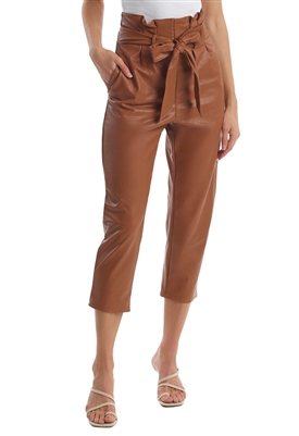 Commando Faux Leather Paperbag Pant in Cocoa