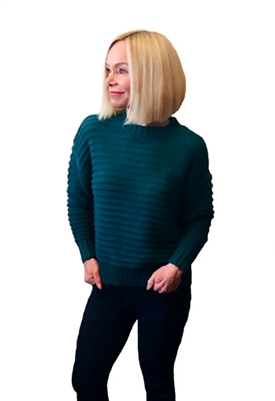 525 America Open Stitch Pullover Sweater in Deep Teal