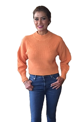 525 America Cotton Transfer Stitch Crop Sweater in Orange