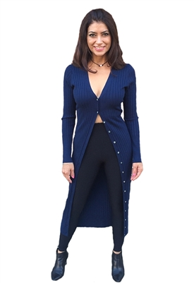 525 America Wide Rib Long Cardigan in Midnight