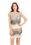 Drew Clothing Shera Side Ruched Sequin Mini Dress in Peach Combo