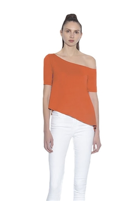 Susana Monaco One Shoulder Top in Cherry Tomato