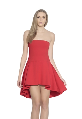 Susana Monaco Strapless Drop Waist Flare Dress in Red