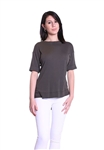 Three Dots Slub Short Sleeve Tuxedo Tee in Olive