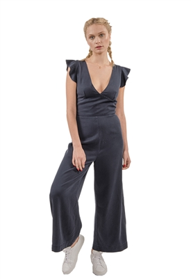Pam & Gela Ruffle Sleeve Laced Back Jumpsuit in Navy