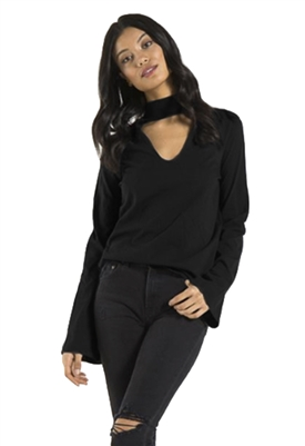 n:Philanthropy Catalina Bell Sleeve Top in Black Cat