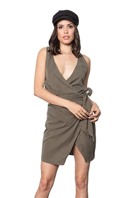 Stillwater The Knotty Wrap Dress in Olive