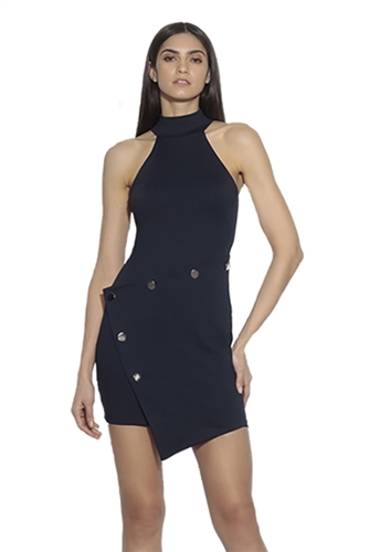 Susana Monaco High Neck Button Mini Dress in Midnight
