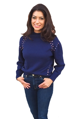 525 America Mock Neck Long Sleeve Sweater in True Navy